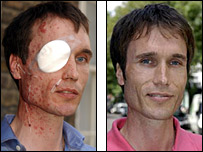 Michael Henning immediately after London bombs and in June 2006, picture on left by PA