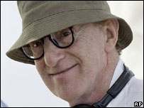 US film director Woody Allen on the first day's filming of his new movie in Barcelona, Spain