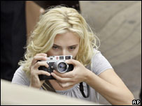 US actress Scarlett Johansson on the second day's filming of Wood Allen's new movie in Barcelona, Spain