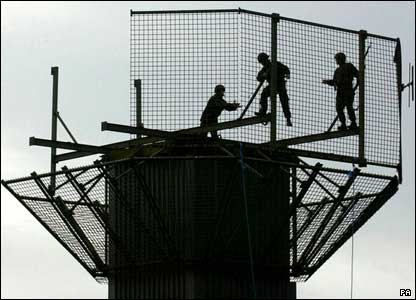 Army engineers dismantling the Watch Tower at Newtonhamilton