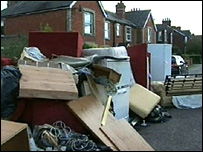 Furniture damaged in the floods in Thatcham, Berkshire