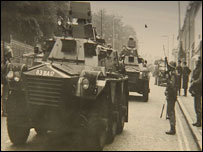 Army tank in Belfast in 1969