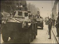 Army tank in Belfast in 1969