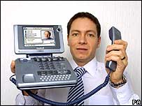 Simon Sugar, Sir Alan's son, holding an Amstrad video phone
