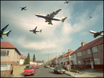 Photomontage of aeroplanes flying over a street