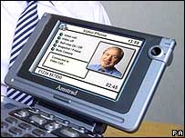 Video phone with Alan Sugar on screen