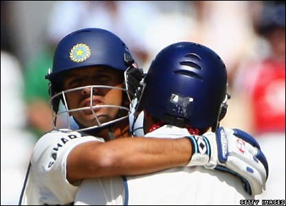 India's cricketers revel in their victory over England at Nottingham's Trent Bridge