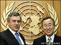 Gordon Brown and Ban Ki-moon at the UN