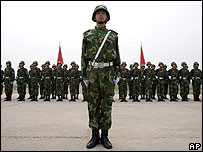 PLA's 196th infantry brigade at their base outside Beijing - 30/07/07