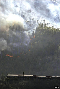 Fire near Tunte in the Spanish Canary island of Gran Canaria, 31 July 2007