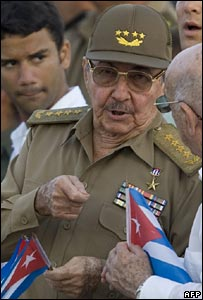 Raul Castro in Revolution square Ignacio Agramonte in Camaguey, 26 July 2007