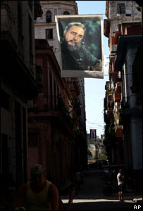 Poster of Fidel Castro on Havana street, 27 July 2007