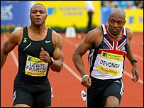 Marlon Devonish wins the 100m at the trials with Mark Lewis-Francis down in third