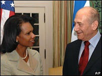 Ms Rice at a previous meeting with Israeli Prime Minister Ehud Olmert