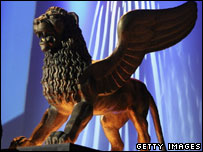 A life-size statue of the Golden Lion award, the main prize at the Venice Film Festival