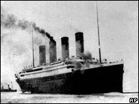 The Titanic leaves Southampton in England before her maiden Atlantic voyage on 10 April 1912