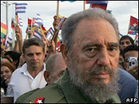 Cuban President Fidel Castro at a rally (26 July 2006)