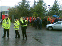 Postal workers on strike in Edinburgh