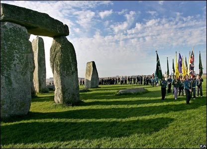Scouts celebrate at Stonehenge