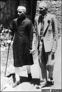 Muhammad Ali Jinnah (right) emerges with Indian Prime Minister Jawaharlal Pandit Nehru after talks