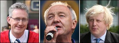 From left Lembit Opik, Ken Livingstone and Boris Johnson