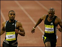 Tyson Gay beats Marlon Devonish in Sheffield
