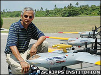 One of the researchers with the unmanned aircraft (Image: Scripps Institution of Oceanography)