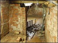 Alan Cresswell's barber shop cellar after the floods