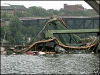 Wreckage in Mississippi river from bridge collapse