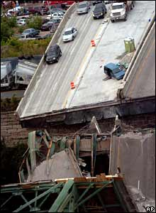 Section of collapsed bridge on Mississippi river at Minneapolis