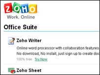Screengrab of Zoho homepage, Zoho
