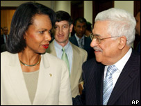 US Secretary of State Condoleezza Rice and Palestinian Authority President Mahmoud Abbas  (02/08/07)