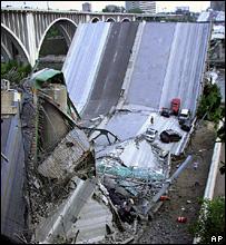 Wreckage of the Minnesota bridge
