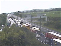 Queue of traffic on the M4 near Magor