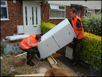 RAF volunteers help with the flood clean-up