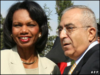 US Secretary of State Condoleezza Rice and Palestinian Prime Minister Salam Fayyad in Ramallah (02/08/07)
