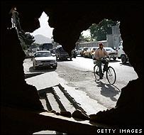 Cyclist in Kabul