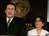 Assistant US attorney Jose Ruiz (l) and interim district attorney Rosa Emilia Rodriguez