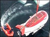 Foto tomada de la televisión de uno de los submarinos