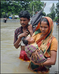 A flood affected family in Bangladesh