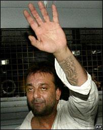 Sanjay Dutt in a prison van