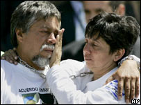 Gustavo Moncayo embraces his wife Maria Estrella Cabrera