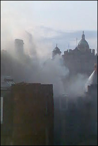 Fire at Romanes and Patersons [Pic: Gillian Steel]