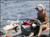 Sunbathers in Istanbul