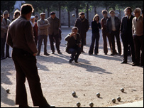 Game of Boule being played by people in Paris town square in 1974