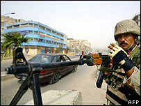 Iraqi soldier manning checkpoint in Baghdad
