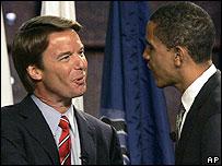 US presidential hopefuls John Edwards and Barack Obama