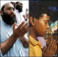 Pakistani Muslim (left) and Indian Hindu (right) at prayer