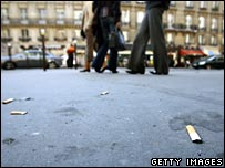 Butts litter the ground in Paris