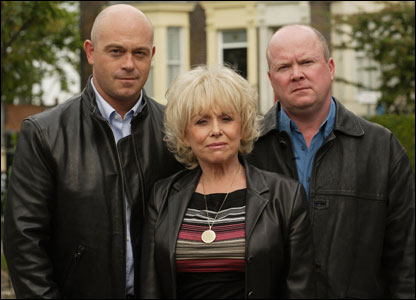 Barbara Windsor with EastEnders co-stars Ross Kemp (l) and Steve McFadden (r)